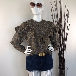 Vintage Floral with Ruffles Blouse